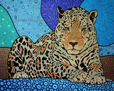 """Jaguar"", Handpainted Dot Art Painting, Acrylic on Linnen. More info about me & my art at manon-elmendorp.nl"