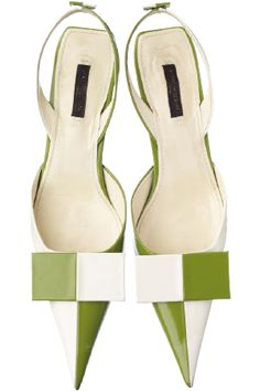 Louis Vuitton white and green geometric high heel shoes