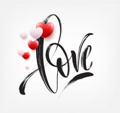 Love word hand drawn lettering with red heart vector image on VectorStock Romantic Messages, Love Messages, Love Phrases, Love Words, Cute Family Quotes, Love Doodles, Wedding Letters, Calligraphy Words, Love You Images