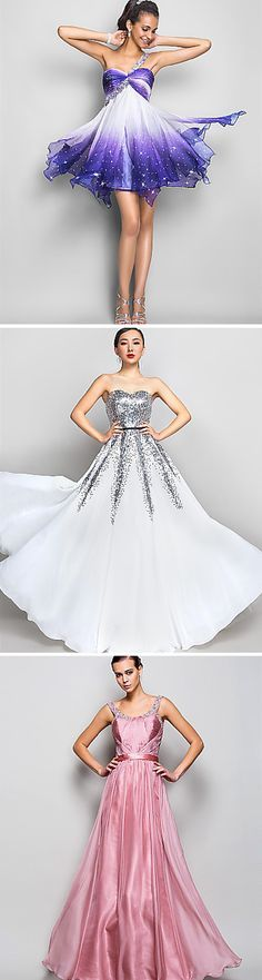 Prom dresses with silver accents! So pretty!