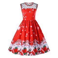#BFCM #CyberMonday #RoseWholesale - #Rosewholesale Christmas Santa Claus Print Midi Dress - AdoreWe.com