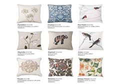 From these cushions would have the vintage flower or birds... same supplier.  The Vintage Flowers is an Indian print