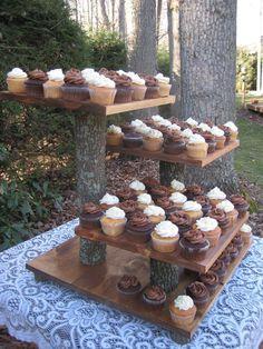 Rustic Wedding ceremony Cake Stand Cupcake Stand Rustic Wedding ceremony Log Slice Dessert Stand Cake Stand Tree Cupcake Stand Pure four Tier XLarge Rustic Cupcake Display, Rustic Cupcake Stands, Rustic Cupcakes, Cake And Cupcake Stand, Cupcake Cakes, Cupcake Ideas, Wedding Cake Stands, Wedding Cake Rustic, Cool Wedding Cakes