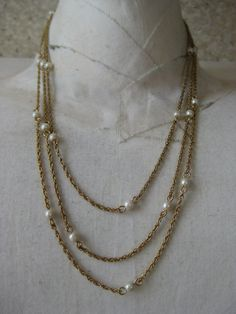 Gold Pearls Three Strand Necklace Chain