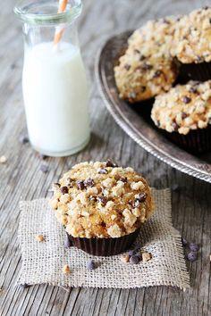 Pumpkin Toffee Chocolate Chip Muffins on twopeasandtheirpod.com