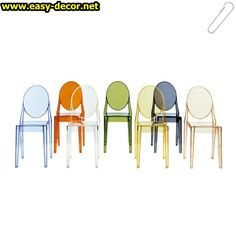Victoria Ghost chair designed in 2005 by Philippe Starck for Kartell. The Kartell Victoria Ghost chair is the armless example of the classic robust Louis Ghost chair. The Victoria Ghost is available in a range of translucent colours and 2 solid colou Patio Dining Chairs, Dining Chair Set, Side Chairs, Dining Room, Dining Tables, Room Chairs, Outdoor Tables, Desk Chair, Fine Dining