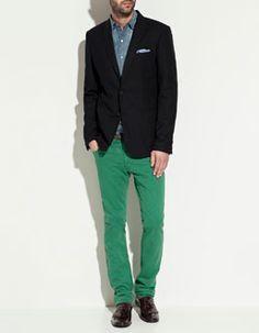 coloured trousers, denim, a blazer