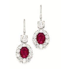 PAIR OF RUBY AND DIAMOND PENDENT EARRINGS  e722cbb8ce07c