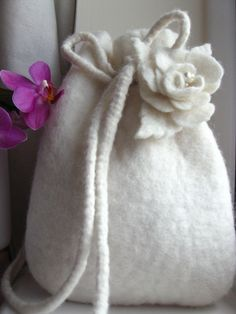 Mon Cherie Hand Felted Drawstring Bag