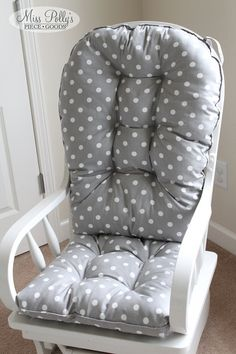Glider or rocking chair cushions in fabrics you choose are a great finishing touch to the well-dressed nursery, or any room in the house~~