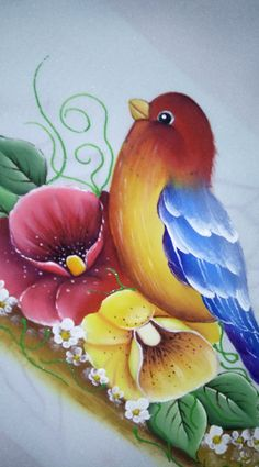 Tole Painting, Fabric Painting, Pinterest Pinturas, Fabric Paint Designs, Butterfly Drawing, Deco Floral, Pictures To Paint, Painting Patterns, Bird Art