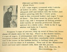 Roots from the Bayou : Family Recipe Friday ~ Pecan Layer Cake