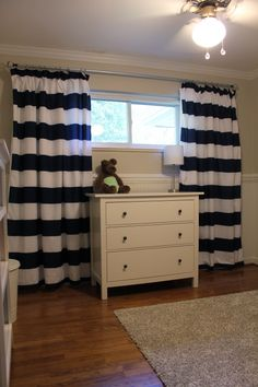 DIY navy and white curtains. Made from Target Duvet Cover