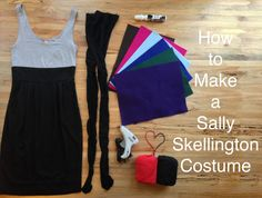 DIY instructions for an inexpensive homemade Sally Skellington wig and costume.