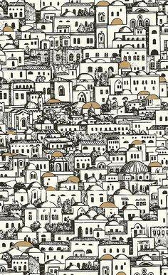 Buy Cole and Son Mediterranea at Wallpaper Trail for only with FREE UK postage. All wallpapers from the Cole and Son Fornasetti Collection collection available. Fornasetti Wallpaper, Piero Fornasetti, Mediterranean Wallpaper, Mediterranean Houses, Mediterranean Architecture, Textures Patterns, Print Patterns, Cole Son, Groomsmen