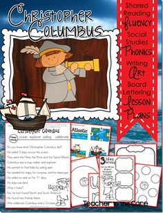 Christopher Columbus super fun art, writing, and reading 1-2 grade