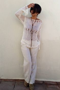 Loose summer sweater cotton knit sweater women sweater by EstherTg Loose Knit Sweaters, Summer Sweaters, Hand Knitted Sweaters, Sweater Knitting Patterns, Knitted Poncho, Cotton Sweater, Hand Knitting, Sweaters For Women, Cream Sweater