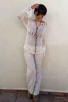Jersey crema para mujer suéter de punto tejido a mano por EstherTg