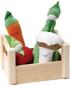 ORGANIC COTTON TEETHERS VEGGIE CRATE | Soft Veggie Toys, Stuffed Vegetable Toys, Veggie Crate | UncommonGoods