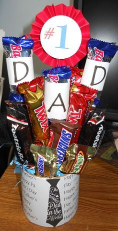 Candy bouquet gift for dad--would also work for mom and bdays, could add their age