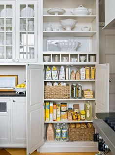 Baskets can be helpful for organizing pantry staples and kitchen supplies. Place a basket with handles on a pantry shelf for easy access to contents. #storage #basketstorageideas #kitchen #pantryorganization #bhg Kitchen Pantry Design, Kitchen Organization Pantry, Kitchen Pantry Cabinets, Pantry Storage, Kitchen Storage, New Kitchen, Kitchen Decor, Organized Kitchen, Organization Ideas