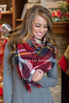 All Wrapped Up Red Plaid Scarf