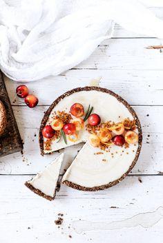{Raw vanilla bean and cherry cheesecake.}