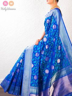 Blue Handwoven Katan Silk Cutwork Brocade Saree - HolyWeaves - 1