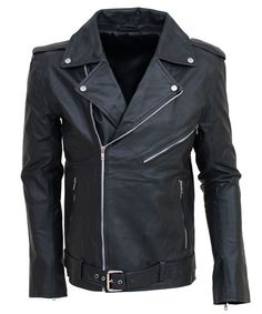 38dab39735f Men Black Leather Biker Jacket