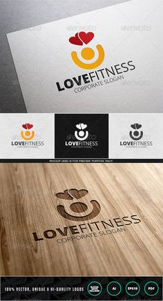 Love Fitness Logo Template — Vector EPS #corporate #fitness • Available here → https://graphicriver.net/item/love-fitness-logo-template/7826995?ref=pxcr