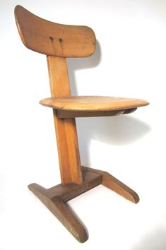 Rare Avant Garde 1930s Bauhaus Germany School Desk Chair, Signed | From a unique collection of antique and modern chairs at https://www.1stdibs.com/furniture/seating/chairs/