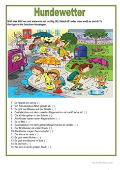 Picture description - it is raining cats and dogs - English ESL Worksheets for distance learning and physical classrooms Picture Story Writing, Picture Story For Kids, Picture Comprehension, Reading Comprehension, Comprehension Worksheets, Comprehension Questions, English Writing Skills, English Lessons, French Lessons