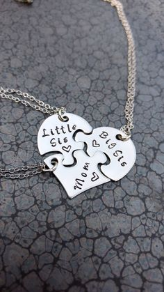Three Piece Heart Puzzle Necklace Mother Daughter Jewelry Hand Stamped Necklace Big Sis Little Sis Family Jewelry - You are in the right place about tiny tattoo Here we offer you the most beautiful pictures about t - Mother Daughter Jewelry, Mother Daughter Tattoos, Tattoos For Daughters, Puzzle Piece Necklace, Hand Stamped Necklace, Family Necklace, Necklace Set, Mother Necklace, E Tattoo