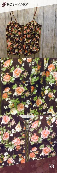 Forever 21 Front Zip Floral Corduroy Camisole [*] EUC No stain or rips This would be great paired with high wasted jeans or shorts Forever 21 Tops Camisoles
