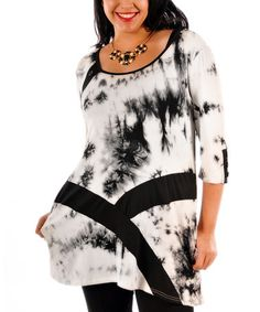 Another great find on #zulily! Black & White Tie Dye Tunic - Plus #zulilyfinds