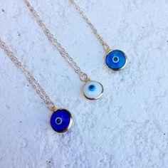 dainty evil eye necklaces, N & K Designs. I like the one on the far left Jewelry Box, Silver Jewelry, Jewelry Accessories, Women Jewelry, Fashion Jewelry, Jewelry Making, Evil Eye Jewelry, Evil Eye Necklace, Turkish Jewelry