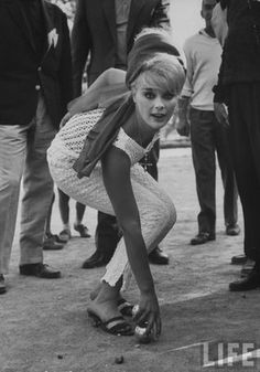 German actress Elke Sommer at Cannes in 1962- gorgeous crochet jumpsuit and headscarf!
