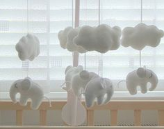 Baby music Crib mobile Sleeping Elephant White & Grey baby cot mobile handmade baby mobile felt music box mobile arm attachment  hanger