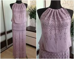 Purple knit dress. Silk.