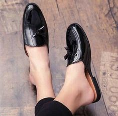 Mens Patent Leather Slip On Tassel Slippers Closed Toe Breathable Mules Shoes Sz   eBay