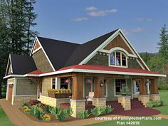 rambler house plans with front porch photos | house and porch plan from FamilyHomePlans.com #42618