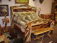 Beautiful juniper King bed w/ coyote pelt comforter. Heavenly Bed, Fur Rug, Fur Blanket, Soft Blankets, King Beds, Cozy House, Rustic Decor, Buffalo, Comforters