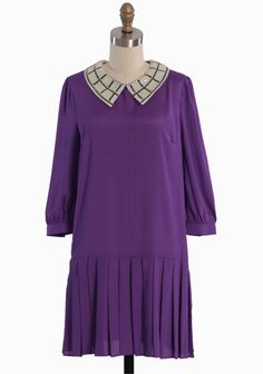 """Violet Lights Sequin Collar Dress 39.99 at shopruche.com. We love the vintage-inspired style of this silky drop-waisted dress in a softly glowing purple hue. Styled with a pleated skirt, three-quarter length sleeves, and an ivory and black sequined collar, the dress looks perfect with t-straps and understated jewelry. Back button keyhole closure.100% Polyester, Imported, 34.5"""" length from top of shoulder..."""