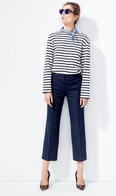 d11944de70ccf Striped sweater|cropped pants with animal print shoes Blue Sweater Outfit,  Pants Outfit,