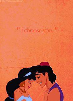 """I Choose You"" - Jasmine and Aladdin - Aladdin My all time favorite Disney movie! Disney Animation, Disney Pixar, Walt Disney, Disney And Dreamworks, Disney Magic, Disney Movies, Disney Characters, Disney Jasmine, Anna Disney"