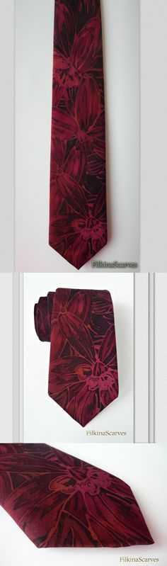 FilkinaScarves #mensfashion . Mens tie Hand Painted Silk Necktie Wedding Business Party Formal Tie Magenta unique Teacher Gifts Silk necktie Handpainted Groomsman FS 22 . Unique Hand Painted necktie made of smooth pure silk with dark magenta flowers on a dark purple-magentd background. Tie was painted using bee wax technique, hand-sewn after being painted.
