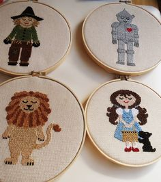 Series of Wizard of Oz Cross Stitched found on Etsy in Sewing Seed Shop. Diy Embroidery, Cross Stitch Embroidery, Embroidery Patterns, Knitting Patterns, Square Drawing, Modern Cross Stitch Patterns, Crochet Crafts, Cross Stitching, Needlework
