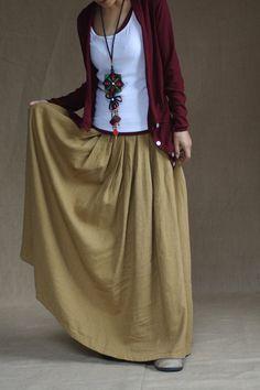 Yellow skirt  fashon skirts Long Skirts Linen Skirt women dress. $58.00, via Etsy.