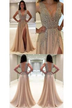 2019 Tulle Prom Dresses A Line V Neck With Beads And Slit Open Back - Formal dresses short - Grad Dresses, Dressy Dresses, Wedding Party Dresses, Evening Dresses, Short Dresses, Prom Outfits, Wedding Parties, Prom Gowns, Vest Coat
