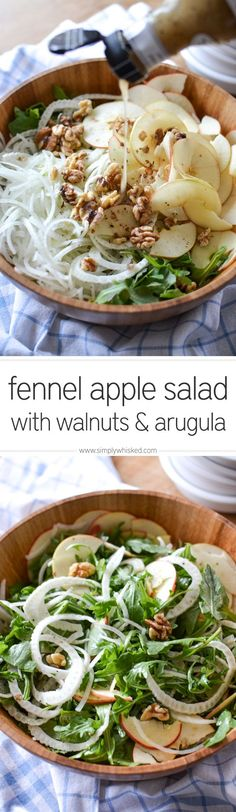 Fennel Apple Salad with Walnuts & Arugula | simplywhisked.com